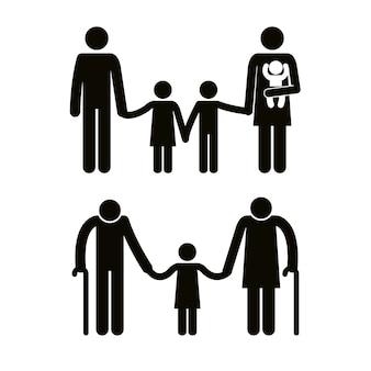 Grupa członków rodziny awatary sylwetki