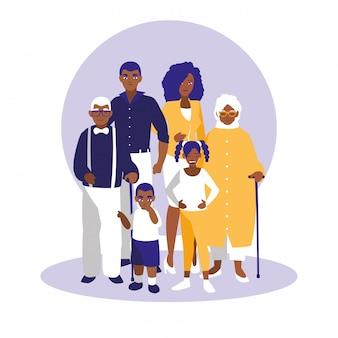 Grupa czarnych postaci członków rodziny