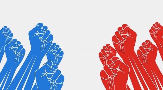 Grupa czerwonych podniesionych pięści przeciw grupie niebieskich podniesionych pięści, na białym tle. konfrontacja, koncepcja opozycji.