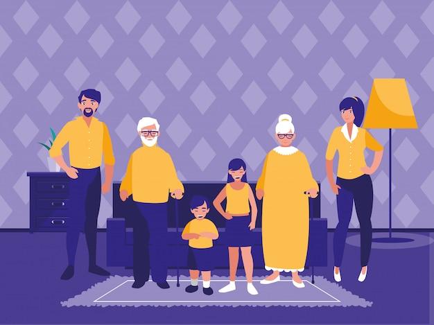 Grupa członków rodziny w salonie
