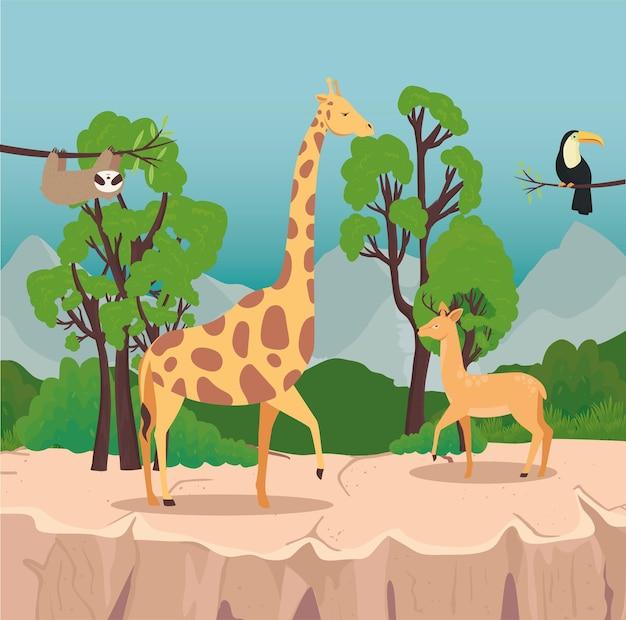 Grupa czterech dzikich zwierząt na scenie sawanny