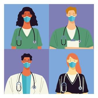 Grupa czterech lekarzy personel medyczny znaków