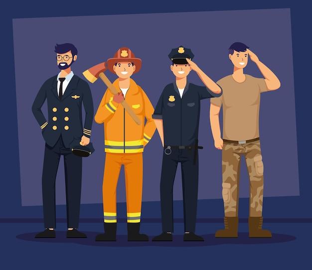 Grupa czterech męskich postaci awatarów zawodów robotniczych