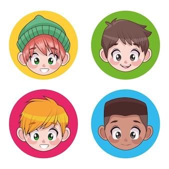 Grupa czterech młodych międzyrasowych nastolatków chłopców dzieci głowy znaków ilustracja