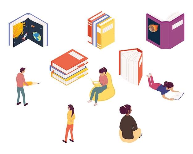 Grupa czytelników czytających książki, projekt ilustracji obchodów dnia książki