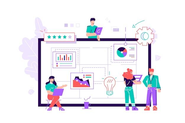 Grupa drobnych pracowników biurowych organizujących zadania na ekranie gigantycznego tabletu pc. zwinna, scrum lub kanban metoda zarządzania projektami dla organizacji pracy biznesowej. nowoczesne mieszkanie ilustracji wektorowych.