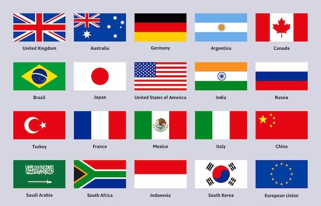 Grupa dwudziestu flag. zestaw ilustracji wektorowych głównych krajów zaawansowanych i wschodzących, chin, brazylii i włoch. godło flagi krajów g20. rosja i francja, kanada i argentyna, japonia i korea