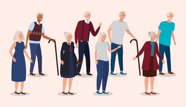 Grupa dziadków elegancki awatar postaci