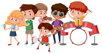Grupa dzieci grających na instrumentach muzycznych