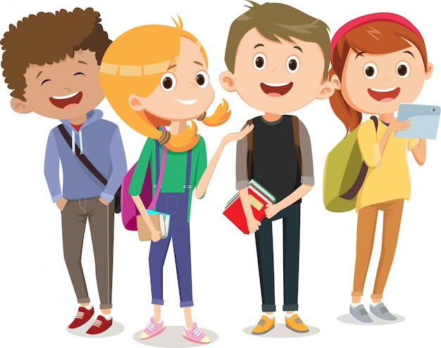Grupa dzieci idących razem do szkoły. powrót do szkoły