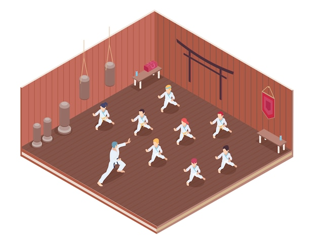 Grupa dzieci ma sztuk samoobrony klasy w gym 3d isometric wektorowej ilustraci