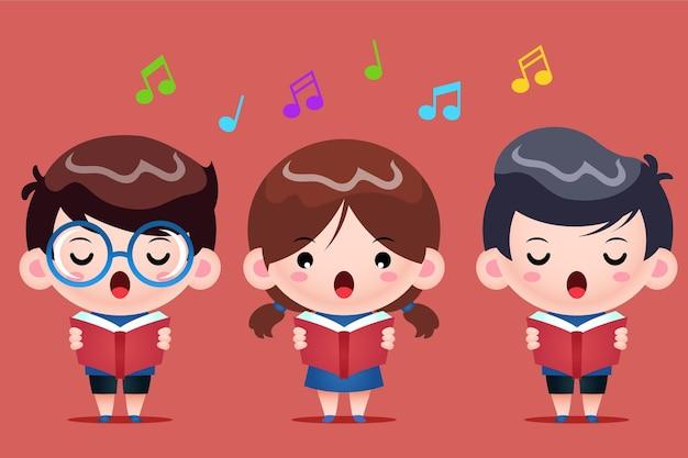 Grupa dzieci śpiewają w chórze