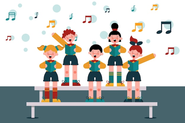 Grupa dzieci śpiewających w chórze