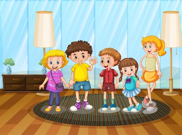 Grupa dzieci w domu