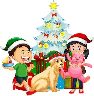 Grupa dzieci z psem w świątecznym stroju na białym tle