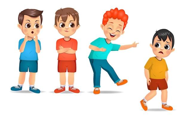 Grupa dzieci zastrasza swojego przyjaciela. na białym tle