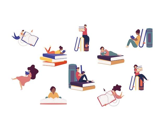 Grupa dziesięciu czytelników z książkami, projekt ilustracji obchodów dnia książki