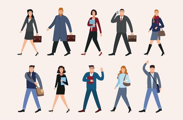 Grupa dziesięciu ludzi biznesu, idąc z powrotem do ilustracji postaci biurowych