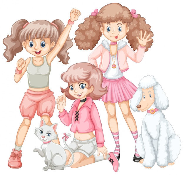 Grupa dziewcząt i zwierząt domowych