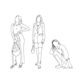 Grupa dziewcząt na ilustracji w stylu liniowym.