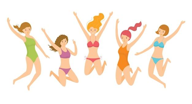 Grupa dziewcząt noszących strój kąpielowy, skoki
