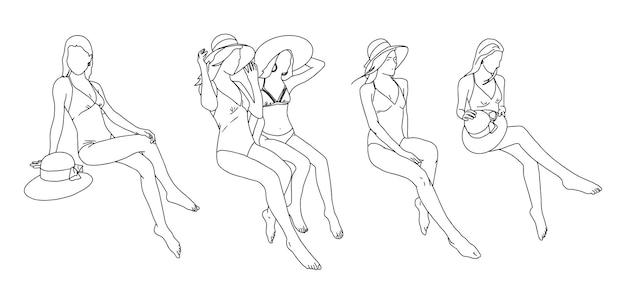 Grupa dziewcząt w ilustracjach strojach kąpielowych.