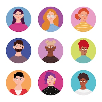 Grupa dziewięciu postaci awatarów młodych osób