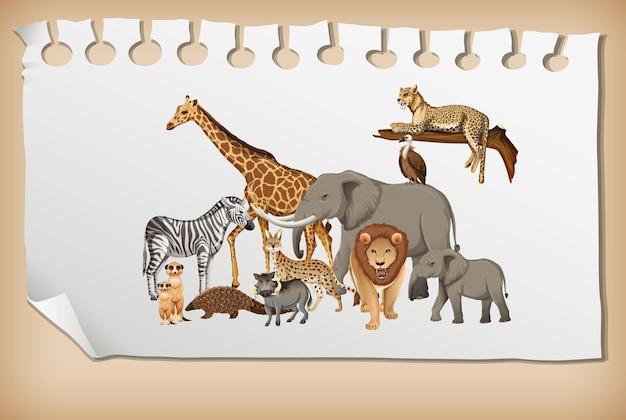 Grupa dzikich zwierząt afrykańskich na papierze