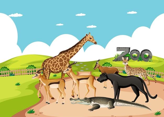 Grupa dzikich zwierząt afrykańskich na scenie zoo
