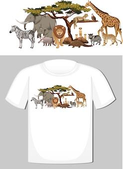 Grupa dzikich zwierząt na koszulkę