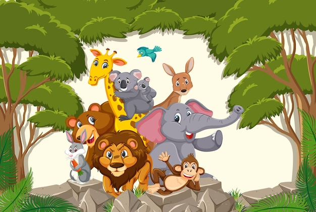 Grupa dzikich zwierząt na scenie leśnej