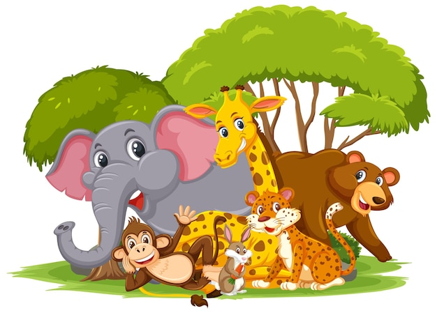 Grupa dzikich zwierząt postać z kreskówki na białym tle