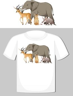 Grupa dzikich zwierząt projekt na koszulkę