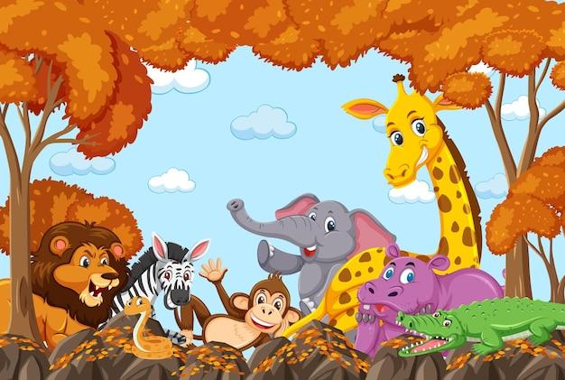 Grupa dzikich zwierząt w jesiennej scenie leśnej