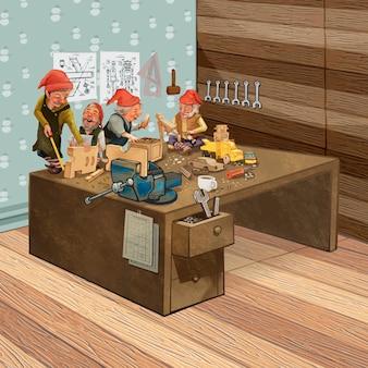 Grupa elfów pracujących w warsztacie świętego mikołaja