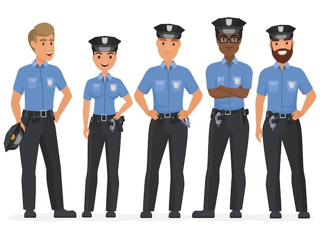 Grupa funkcjonariuszy policji bezpieczeństwa kreskówek. kobieta i mężczyzna policjantów znaków