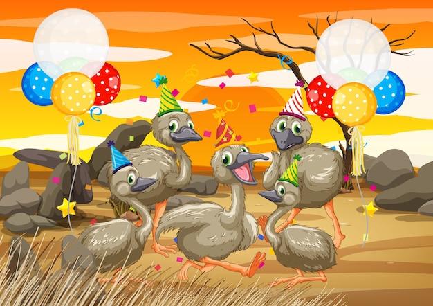 Grupa gęsi w postaci z kreskówki motywu partii na plaży