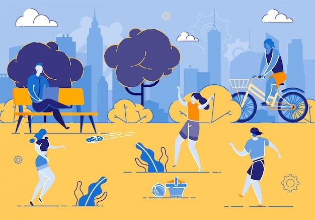 Grupa gorących letnich dni szczęśliwi ludzie w parku miejskim