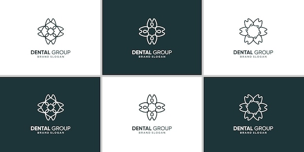 Grupa ikona logo stomatologiczne z kreatywną koncepcją abstrakcyjną premium wektor