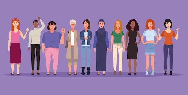 Grupa ilustracji postaci awatarów pięknych dziewczyn
