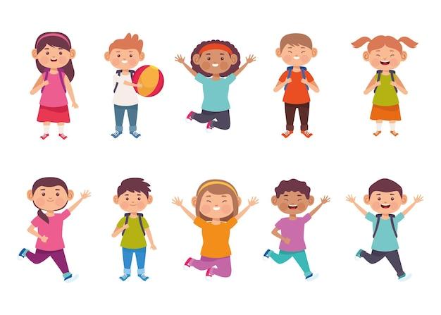 Grupa ilustracji słodkie dzieci
