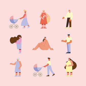 Grupa ilustracji w ciąży