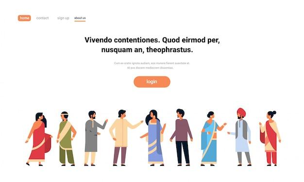 Grupa indian, noszenie narodowego tradycyjnego ubrania transparent