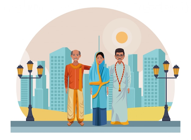 Grupa indyjskich ludzi awatar