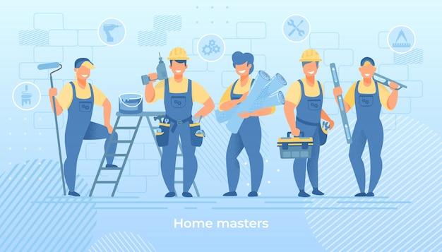 Grupa inżynierów budowlanych w szacie z narzędziami