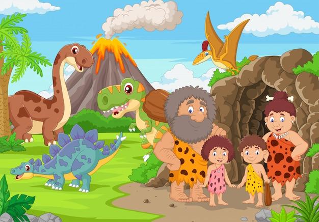 Grupa jaskiniowców kreskówek i dinozaurów w lesie