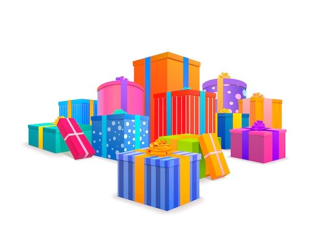 Grupa jasnych, kolorowych opakowanych pudełek prezentowych