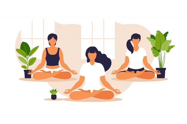 Grupa jogi. ustaw równowagę i rozciąganie. ludzie siedzący razem w pozycji lotosu ćwiczą medytację uważności i jogę, zdrowy styl życia i pojęcie duchowości. .