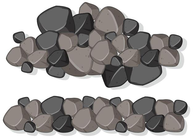 Grupa kamieni granitowych na białym tle