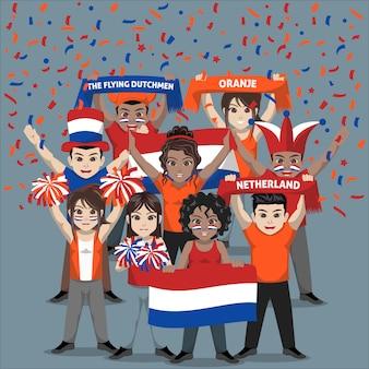 Grupa kibiców reprezentacji holandii w piłce nożnej